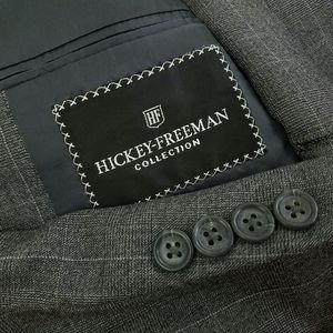 NWOT Hickey Freeman 50L Gray Windowpane Suit